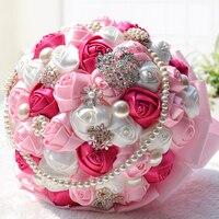 Elegante 26 cm x 28 cm Cetim Rosa Artificial Buquê De Casamento Pérola Beading Broche Dama de Honra/Flores da Festa de casamento Da Noiva Decoração Da Sua casa