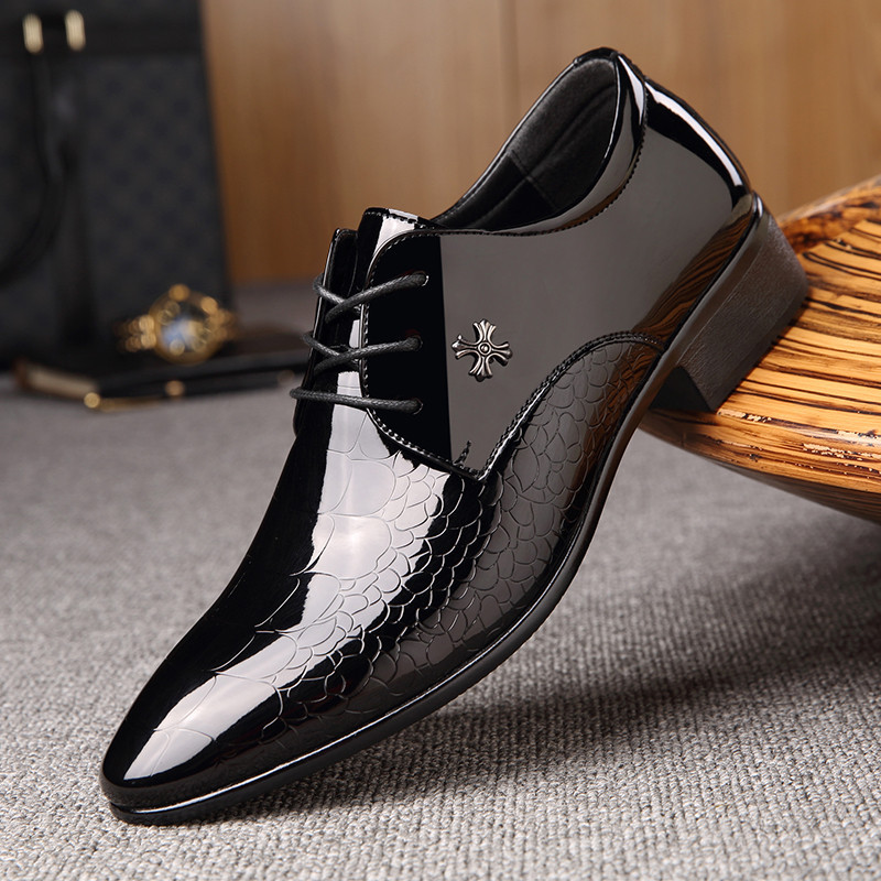 New italian oxford shoes for men luxury mens patent leather wedding shoes mens pointed toe dress shoes classic derbies 871 image
