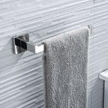 Ванная комната квадратное полотенце для рук стойки SUS304 нержавеющая сталь ржавчины полотенца кольцо настенное крепление бар Полированное Серебро Цвет