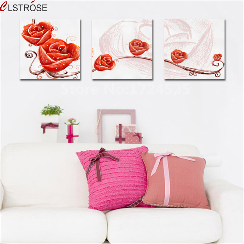 CLSTROSE Modern Abstract 3 Piece Flowers Canvas Painting Artwork Wall Art Home Decor Print Picture Painting on the Wall Unframed