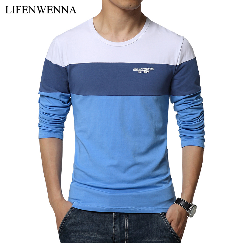 Spring New Arrival Men's T Shirt O Neck Patchwork Long Sleeve T Shirt Mens Clothing Trend Plus Size Top Tees Shirts M-5XL