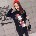 Pregnant women autumn and winter sweater jacket pregnant women black T-shirt cute Mickey Mouse