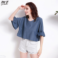 ME Women Spring Summer Loose V Neck T Shirts Laced Up Back Lotus Sleeve Pullovers Female