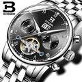 Suíça binger relógios homens marca de luxo turbilhão fulll b-8604-3 mecânico resistente à água relógios de pulso de aço inoxidável