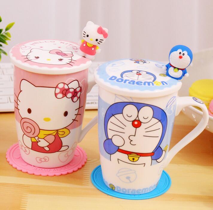 Cartoon Mugs With Lid Spoon Coasters Creative Ceramic Coffee Breakfast Milk Water Mug Porcelain Cup Home Drinkware Gift
