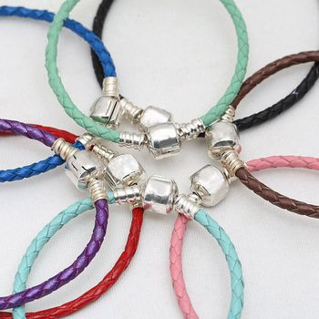 16-31cm 925 Sterling Silver Bead Charm Chain Fit Original Moments Woven Genuine Leather Branded Bracelet Women DIY Jewelry Gift bead