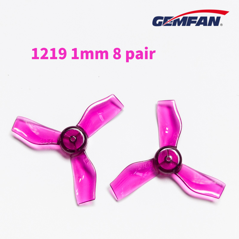 8 Pair GEMFAN 1219 31mm 0.8mm 1mm Hole 3blade Propeller Props CW CCW For 0703-1103 RC Drone FPV Racing Brushless Motor