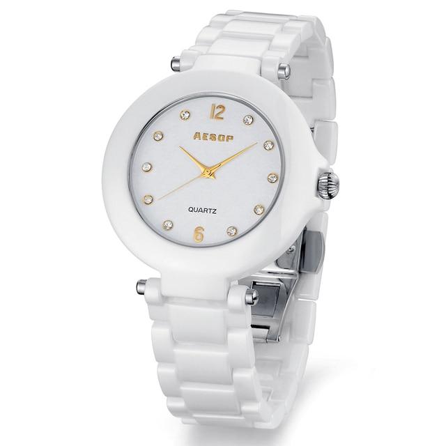 Aesop watch white ceramic rhinestone wristwatch women's waterproof fashion watches gold scale dial 9919