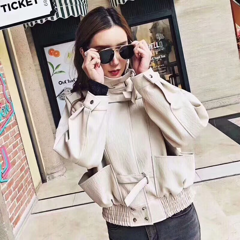 2019 Autumn Women Loose Faux Soft PU   Leather   Jackets Lady Free Motorcycel Biker Batwing Sleeve Coat Streetwear Wine Beige Black