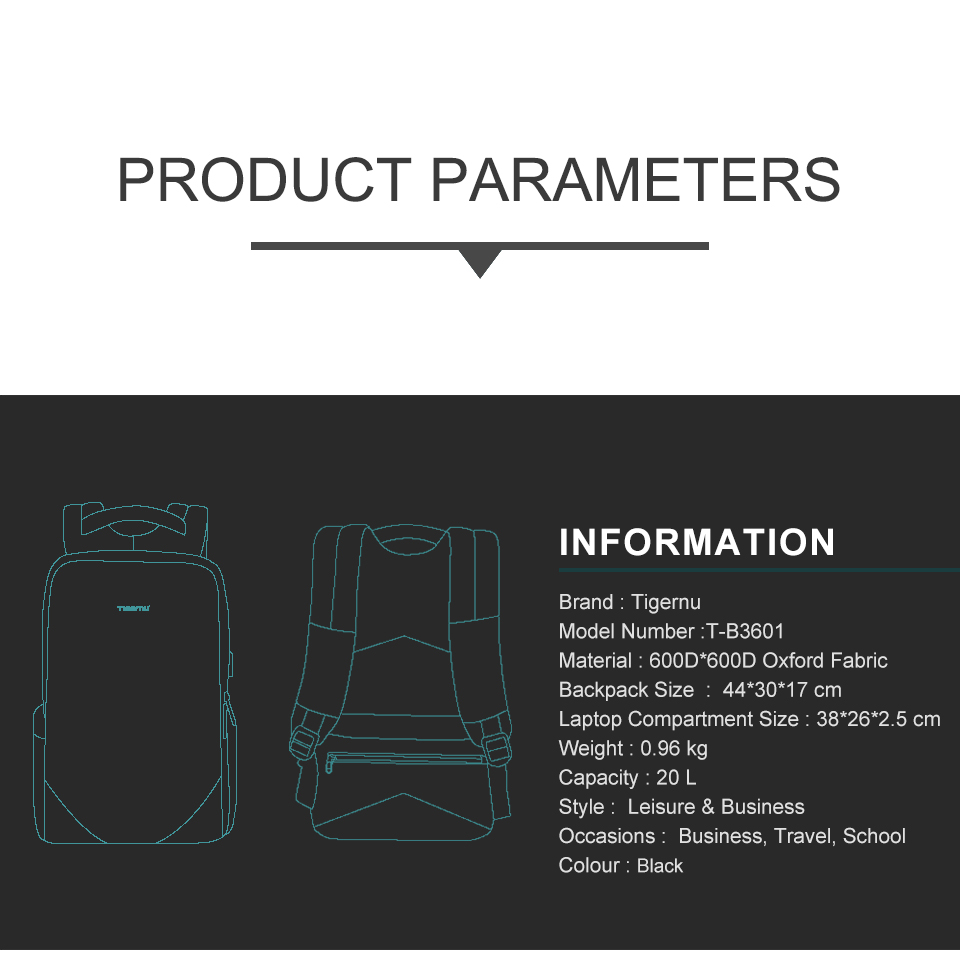 Tigernu nova fashion15.6 portátil mochila de carregamento