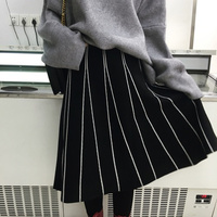 Skirts Womens 2016 Autumn Winter Vintage Japan Style A Line Striped Slim High Waist Knitted Long