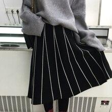 Aufyso Юбки для женщин женские 2017 осень-зима Винтаж Японии Стиль полосатый тонкая линия Высокая Талия Длинные Юбки трикотажные Черный, серый цвет b162