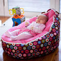 COVER ONLY, NO FILLINGS - Canvas Pink Vine Baby infant Bean Bag Snuggle Bed Portable Seat Without Filling