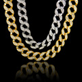 24K Real Gold Plated MIAMI CUBAN LINK Exaggerated Shiny Crystal Rhinestone Necklace Sets Hip Hop Bling Hipster Men Chains 75cm