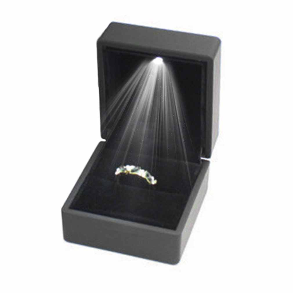Black/Blue LED Lighted Earring Ring Gift Box Wedding Ring Jewelry Display Packaging Organizer Storage For Engagement