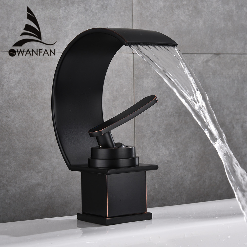 Basin Faucet Waterfall Black with Brushed Bathroom Basin sink Faucet Cold and Hot Water Mixer Single