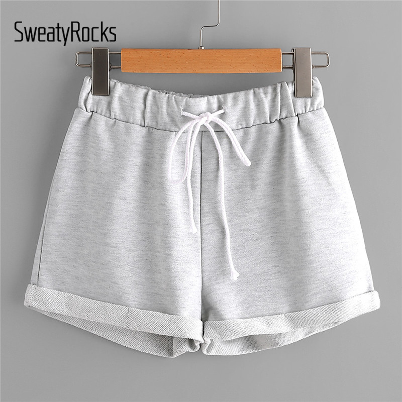 SweatyRocks Heathered Knit Cuffed Shorts 2018 Summer Low Waist ...