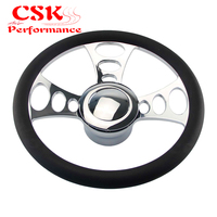 "14"" 9 Bolt Chrome Half Wrap PVC Steering Wheel+Horn Button& Adpter Fit For Chevy G M 69 94 Aaftermarket