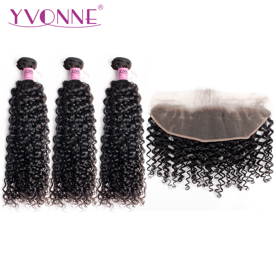 Ивонн Малайзии Вьющиеся натуральные волосы фронтальные с пучки натуральных волос, не подвергавшихся химическому воздействию ткань 3 Связк...
