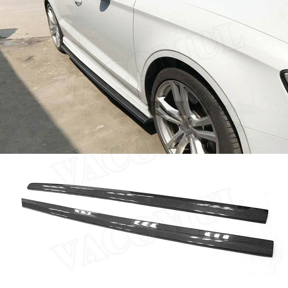 Углеродного волокна сбоку юбки бампер Наборы для Audi A3 Sline S3 седан 4 двери не A3 Стандартный 2014-2018 стайлинга автомобилей