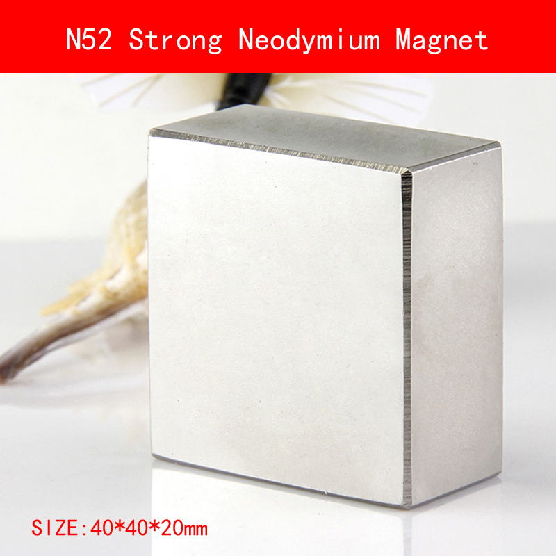 1 STÜCKE block 40x40x20mm N45 N52 Super Leistungsstarke Starke Seltene Erde-block NdFeB Magnet Neodym N52 Magneten 40*40*20mm