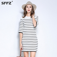 SFFZ Fashion New Women T Shirts Sweater Dress Black White Striped Pullovers For Female Casual Short