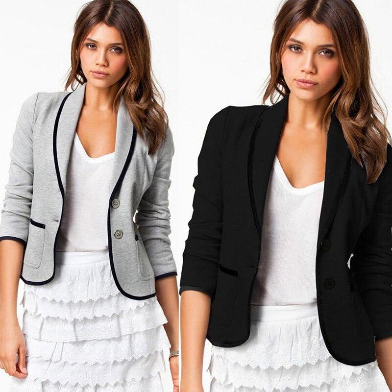 Women Blazer Long Sleeves Lapel Short Coat Jacket Outwear H9