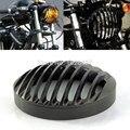 """Preto 5 3/4 """"Farol De Alumínio Grill Capa Para Harley Sportster 04-14 883 1200"""