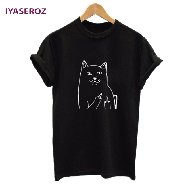IYASEROZ Harajuku Style Middle Finger Pocket Cat T Shirt Funny Graphic Print Tee Shirts Go Away Short Sleeve Hispter Tops Tees