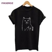 IYASEROZ Harajuku Style Middle Finger Pocket Cat T Shirt Funny Graphic Print Tee Shirts Go Away
