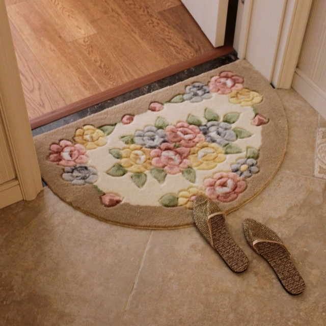 1PC Fashion Rose Flower Water Absorbing Mats Bedroom Mats Washable Doormats  Entrance Area Rugs Carpets