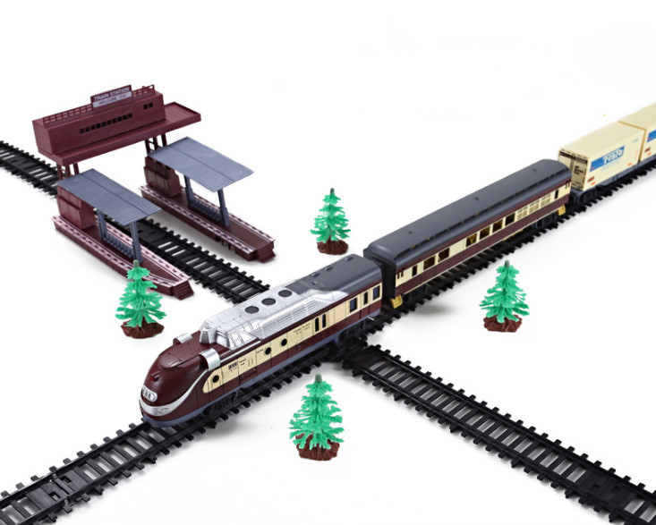Tren Electric Trains Vehicle Railway Motorized Trian Track Set Model Toy Boys Toys For Children Christmas Gifts.