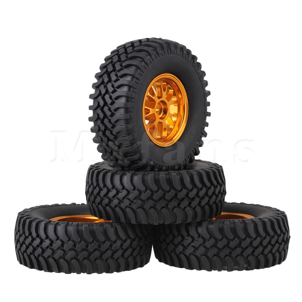 Mxfans 4xRC1:10 Rock Crawler Black 100mm Dia Rubber Tyre+Gold Y-Shape Alloy Wheel Rim exotao high wasit jeans women casual loose pockets spliced denim trousers feminina wide leg pants full length jeans female 2017