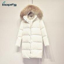 Brand ladies white coat female 2017 new large bristles thickening winter down jacket women high quality warm loose coat WM431