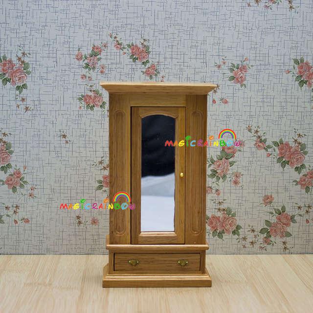 Wardrobe Armoire Cabinet Cupboard Mirror Drawer Wood Dollhouse Miniatures  1:12 Dolls House Bedroom Furniture