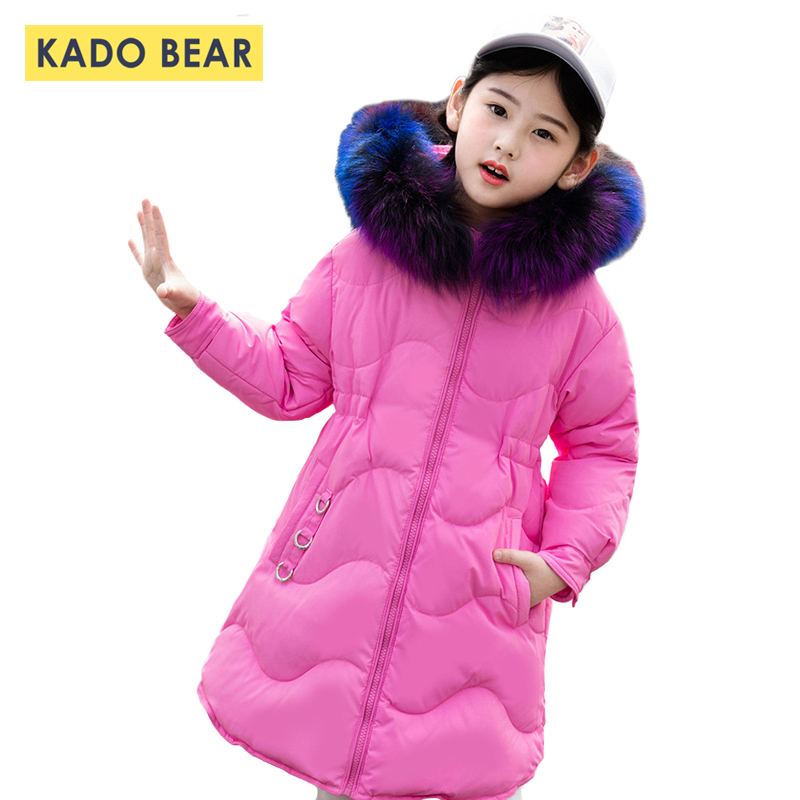 Girls Thick Winter Down Coat Fur Collar Warm Kids Jackets Fashion Hooded Baby Girl Long Coats Zipper Outerwear Children Clothes weixu fashion girls winter coat kids outerwear parka down jackets hooded fur collar outdoor warm long coats children clothing
