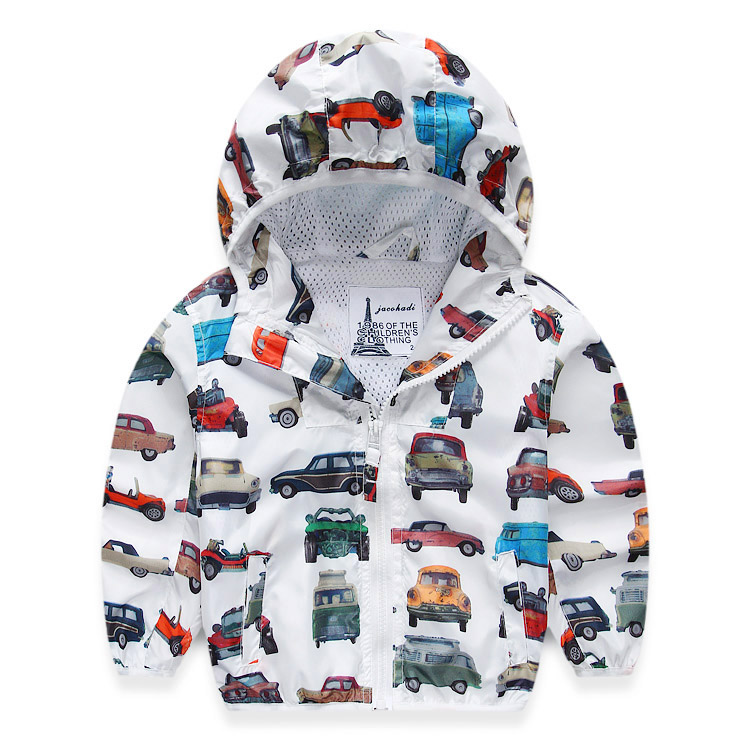 Children Jackets For Boys 2018 Spring Autumn Hooded Printed Car Baby Boys Outerwear & Coats 2-8 Years Kids Windbreaker Clothes zofz kids jackets for girls spring coats cotton zipper outerwear printed hooded boys sweatshirts 2 years old baby girl clothes
