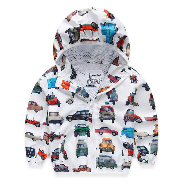 71e2f902a788 Children Jackets For Boys 2018 Spring Autumn Hooded Printed Car Baby ...