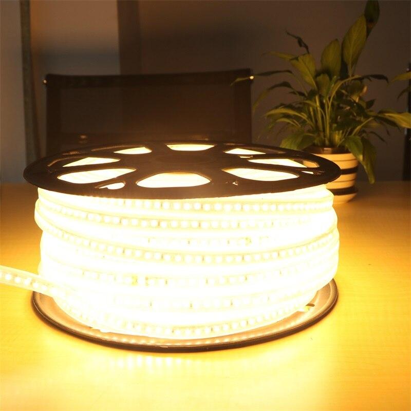 Водонепроницаемая 220 В SMD 5630 5730 5 м 10 м 15 м 20 м гибкая светодиодная лента Светодиодная лента 180 светодиодов/м наружное садовое освещение с вилк... - 6