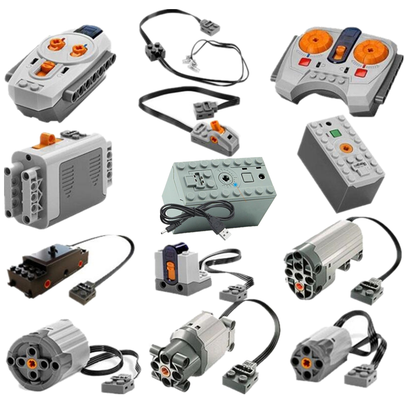 Modified Car Power Functions Motor Set IR RX TX Servo Battery Box Building Blocks Bricks Kids City Compatible image