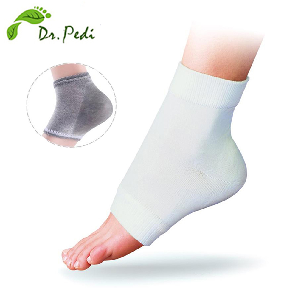 Silicone gel socks For Pedicure Moisturizing Socks For Feet Care Heel Pillow Massager Pies Spar The Foot (4 pieces=2 Pair) image