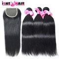 Перуанский прямо девственные волосы с закрытием 3 пучки человеческие волосы соткать с кружевными закрытия 7а необработанные девственные волосы 4 шт. много
