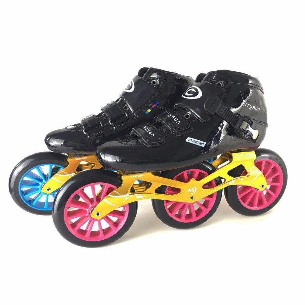 JEERKOOL Cityrun2 professionnel vitesse patins à roues alignées rouleau en Fiber de carbone chaussures 125mm roues de patinage patins pour enfants adultes hommes SH43