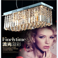 L50 60 70 80cm Rectangular Crystal Pendant Lamp 40W Led E14 Light Base Kitchen Crystal Stainless