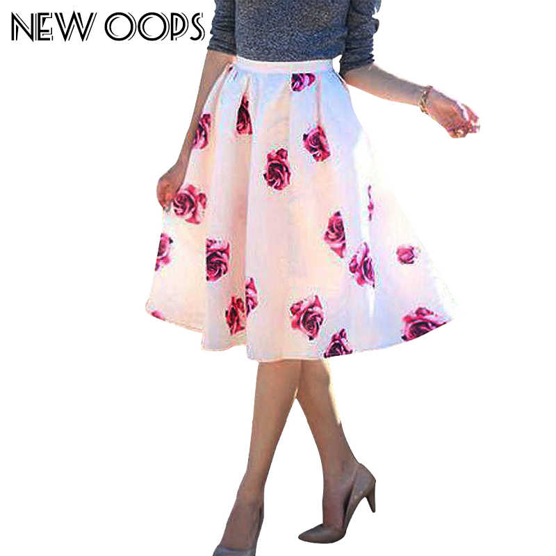 91401110f1 NEW OOPS Women Party Skirts Fashion Vintage Rose Floral Print High Waist  Skater Ball Gown Women
