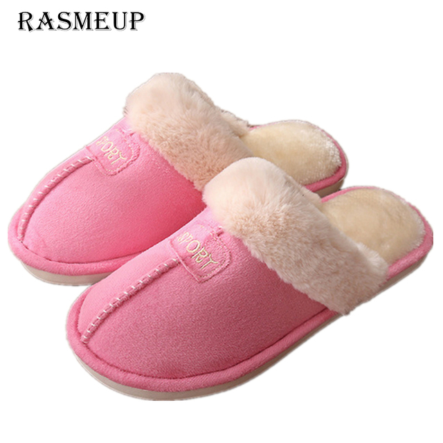 RASMEUP Women Winter Home Slippers 2018 Solid Comfortable Cotton Warm Indoor Slippers Adults Women's Plush Flip Flops Home Shoes