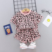 2019 new leopard girl summer shirt short-sleeved suit fashion Tshirt shorts 2 sets of children casual clothes suit baby girl set 2016 summer korean children s garment 2 pieces set new pattern girl baby bow leveret t shirt undershirt wave point shorts suit