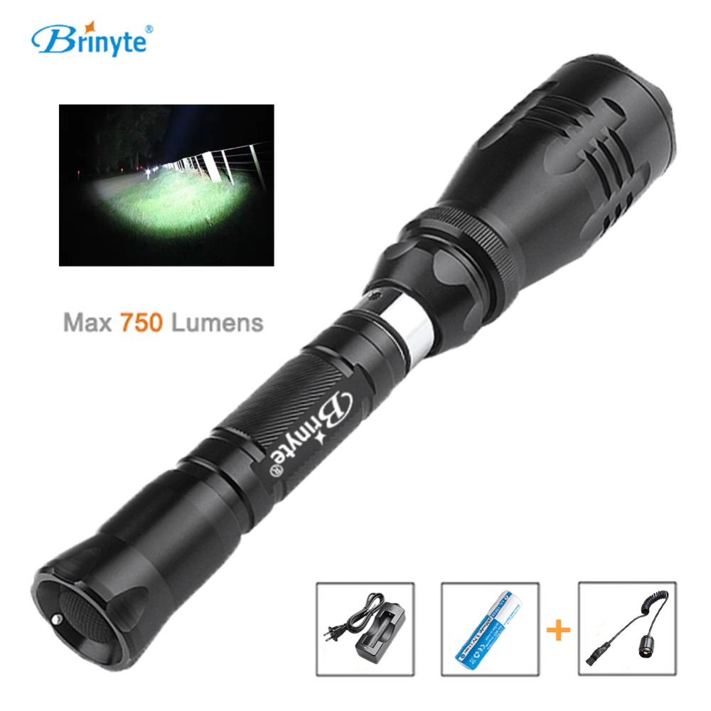 Brinyte B38 Hunting Flashlight Tactical Switch Cree XM-L2 Red Green Light 1 Mode LED Hunting Flashlight Magnetic with 18650 brinyte b58u best cree xm l2 3 colors beam led hunting flashlight torch with red green white module remote switch and gun mount