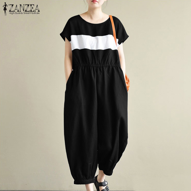 ZANZEA Women Summer O Neck Short Sleeve Stiped Patchwork Jumpsuits Cargo Pants Casual Loose Pockets Overalls Rompers Plus Size