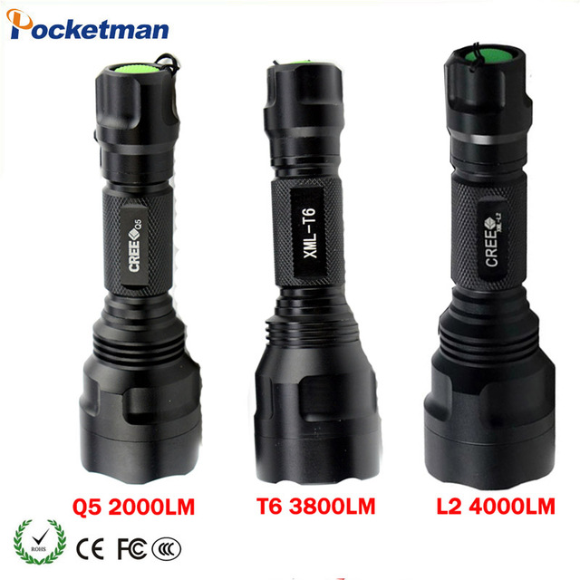 HOT Rechargeable Led Flashlight CREE XML T6 XML L2 Q5 Waterproof 5 Mode 18650 Battery Tactical Hunting Camping Bicycle z40 crazyfire led flashlight 3t6 3800lm cree xml t6 hunting torch 5 mode 2 18650 4200mah rechargeable battery dual battery charger
